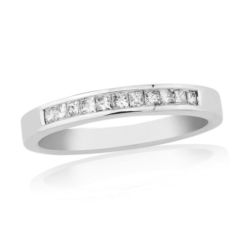 Princess Cut Eternity Ring Diamond White Gold Channel Set 25 Points